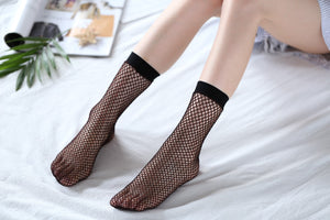 Ankle High Stockings D-2075-Black-Red-Glitter