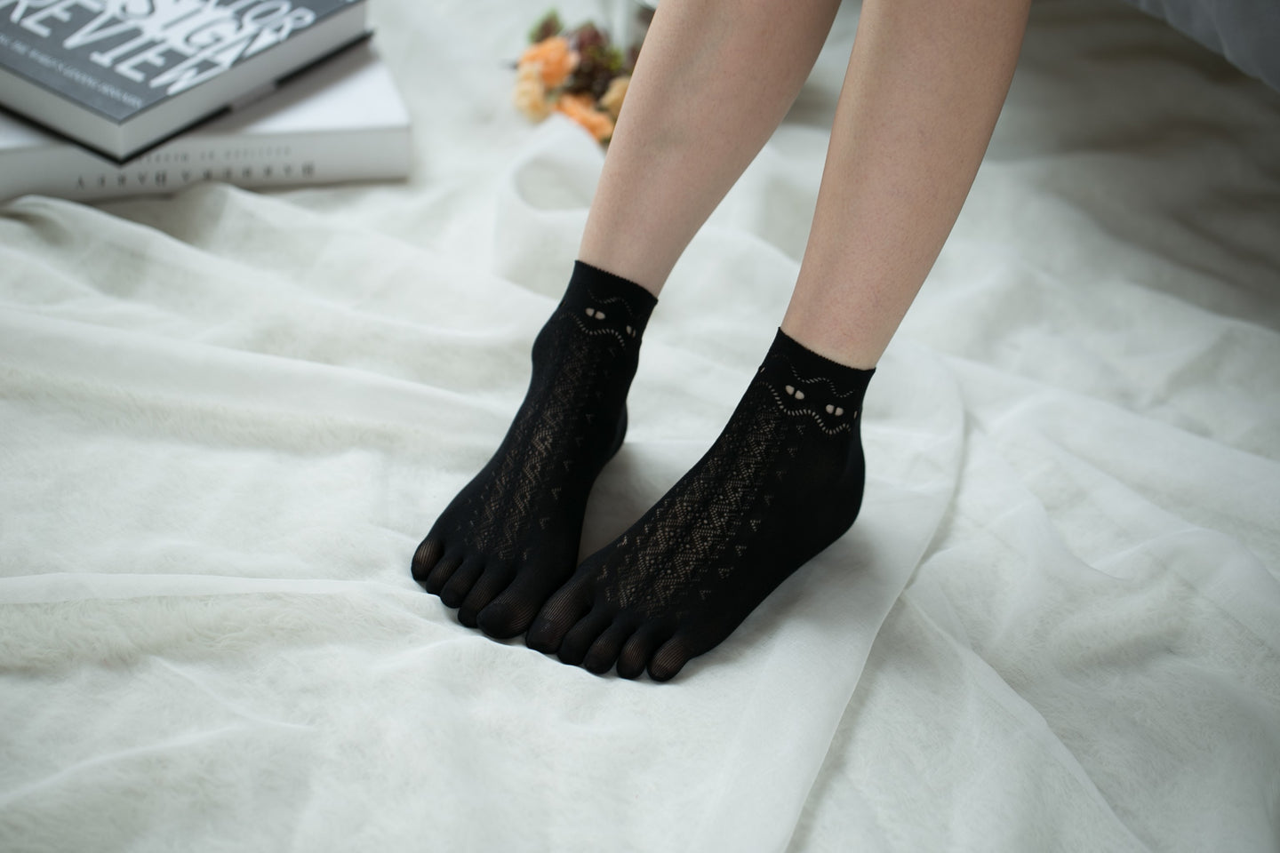 Ankle High Stockings D-2517-Black