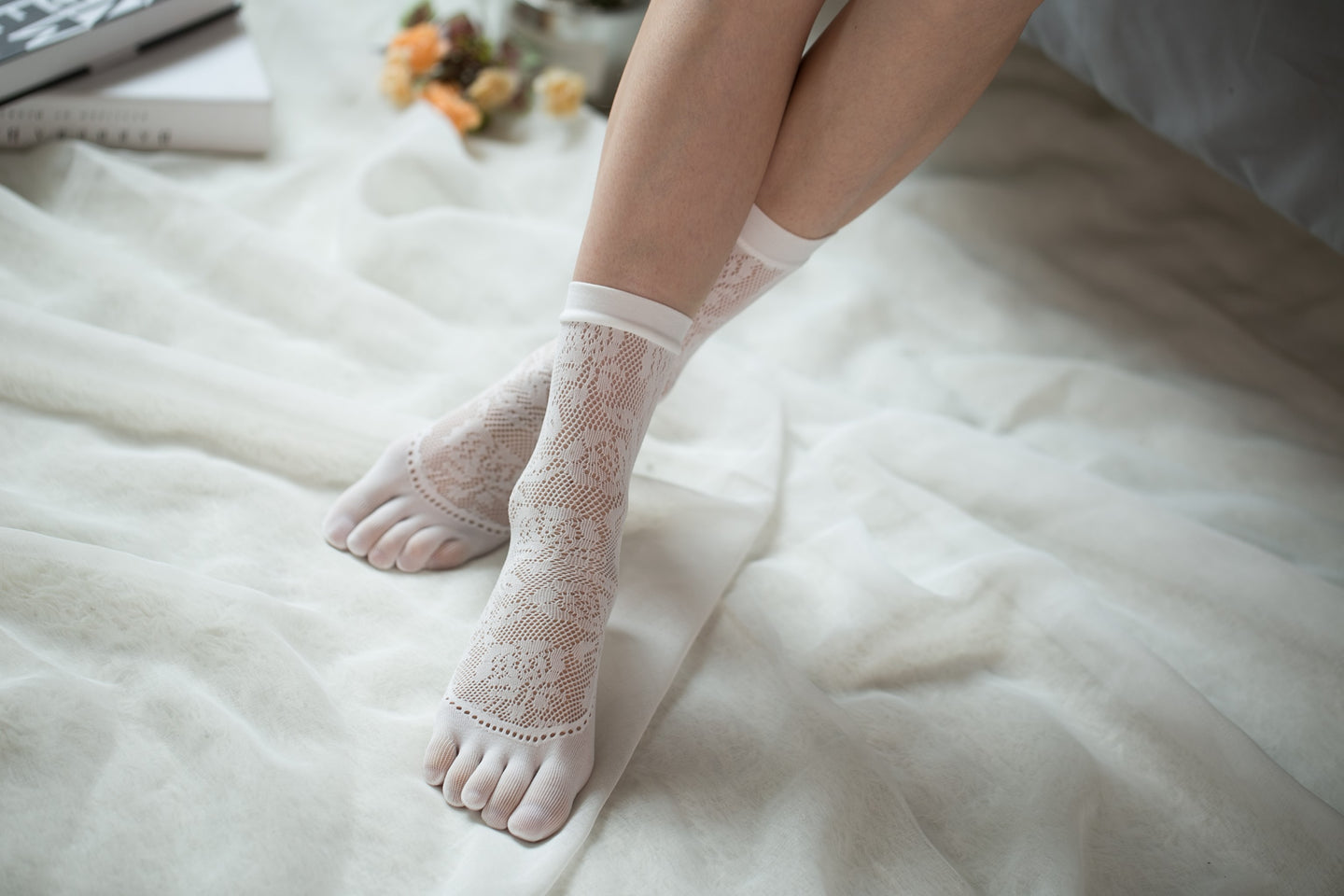 Ankle High Stockings D-2522-White