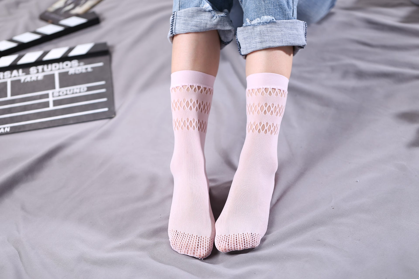 Ankle High Stockings D-2525-Light-Pink