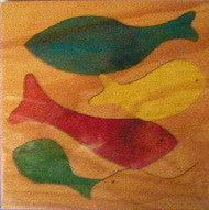 School Of Fishes 190*190*6Mm - Wooden