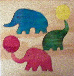 Circus Elephants 190*190*6Mm - Wooden