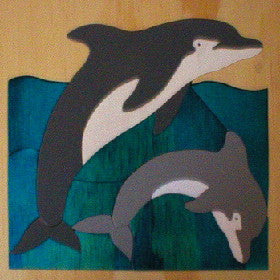 School Of Dolphins 190*190*6Mm - Wooden