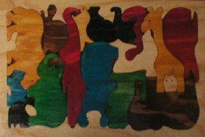 Wild Animals Coloured 220*235*12Mm - Wooden