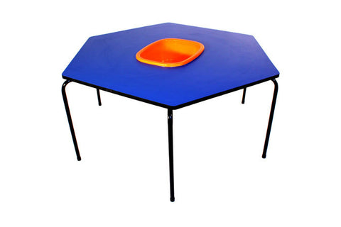 Hex Table Formica-Bowl/Metal Legs/Stack-Blue