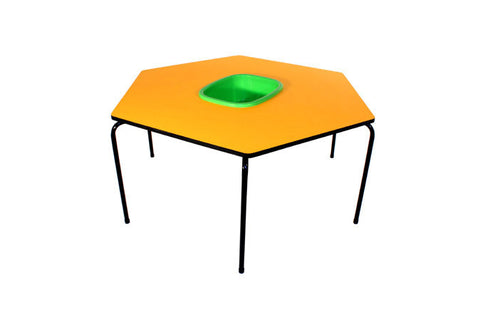 Hex Table Formica-Bowl/Metal Legs/Stack-Yellow