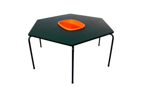 Hex Table Formica-Bowl/Metal Legs/Stack-Green