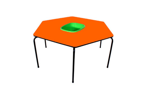 Hex Table Formica-Bowl/Metal Legs/Stack-Orange