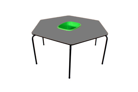 Hex Table Formica-Bowl/Metal Legs/Stack-Grey