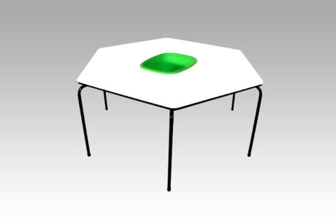 Hex Table Formica-Bowl/Metal Legs/Stack-White