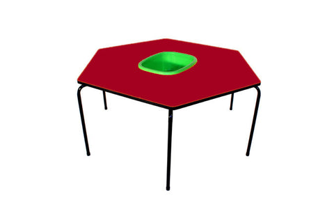 Hex Table Formica-Bowl/Metal Legs/Stack-Ruby