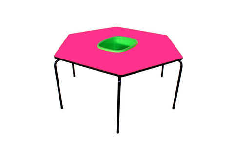 Hex Table Formica-Bowl/Metal Legs/Stack-Pink