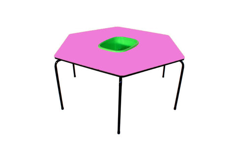 Hex Table Formica-Bowl/Metal Legs/Stack-Mauve