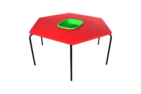 Hex Table Supa Wood-Bowl/Metal Legs/Stack