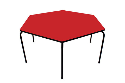 Hex Table Formica-No Bowl/Metal Legs/Stack Red