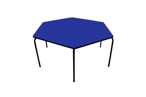 Hex Table Formica-No Bowl/Metal Legs/Stack Blue