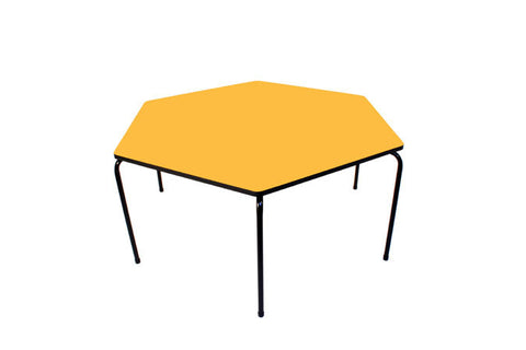 Hex Table Formica-No Bowl/Metal Legs/Stack Yellow