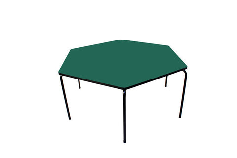Hex Table Formica-No Bowl/Metal Legs/Stack Green