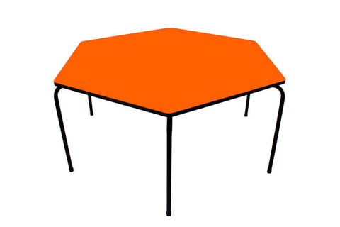 Hex Table Formica-No Bowl/Metal Legs/Stack Orange