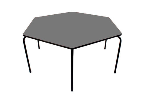 Hex Table Formica-No Bowl/Metal Legs/Stack Grey