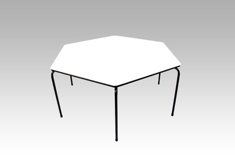 Hex Table Formica-No Bowl/Metal Legs/Stack White