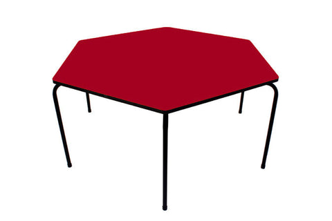 Hex Table Formica-No Bowl/Metal Legs/Stack Ruby