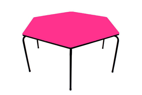 Hex Table Formica-No Bowl/Metal Legs/Stack Pink