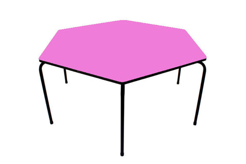 Hex Table Formica-No Bowl/Metal Legs/Stack Mauve