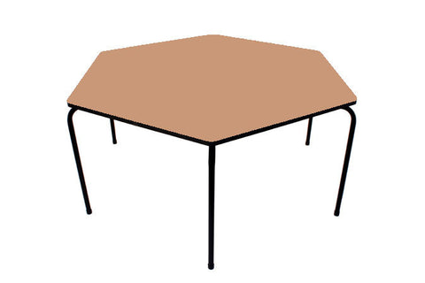 Hex Table Formica-No Bowl/Metal Legs/Stack L/Oak