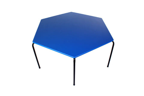 Hex Table Supa Wood-No Bowl/Metal Legs/Stack