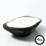Lavender Spring Apricot - 3 Wick Black Wood Dough Bowl
