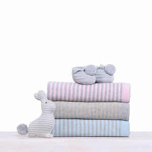 CooCoo Reversible Cotton Knitted Blanket Blue