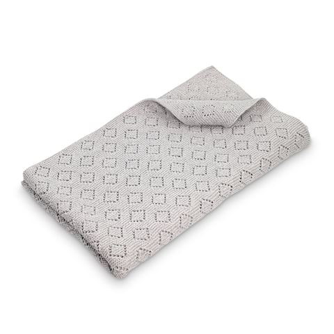 Milo Diamond Knit Baby Blanket  Grey