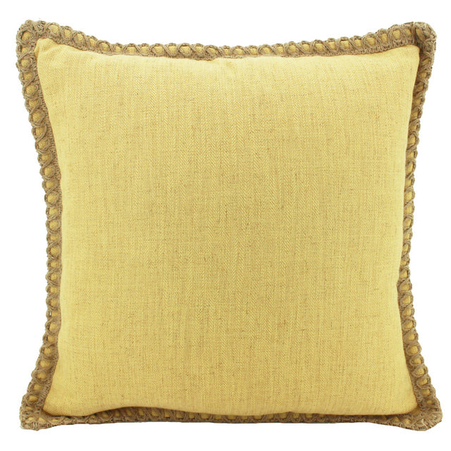 Jute/Linen Cushion Yellow