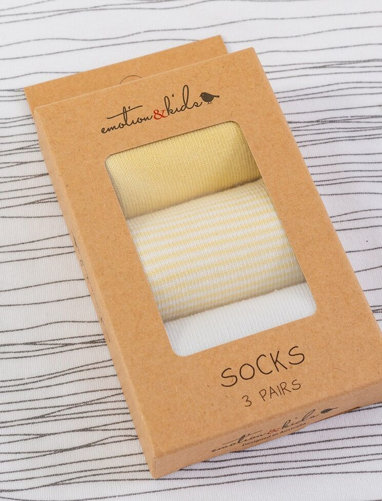 Lemon Stripe 3pk Socks