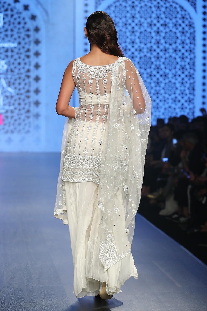 Ivory Net Fully Hand Embroidered Kurta With Sheeting Sharara