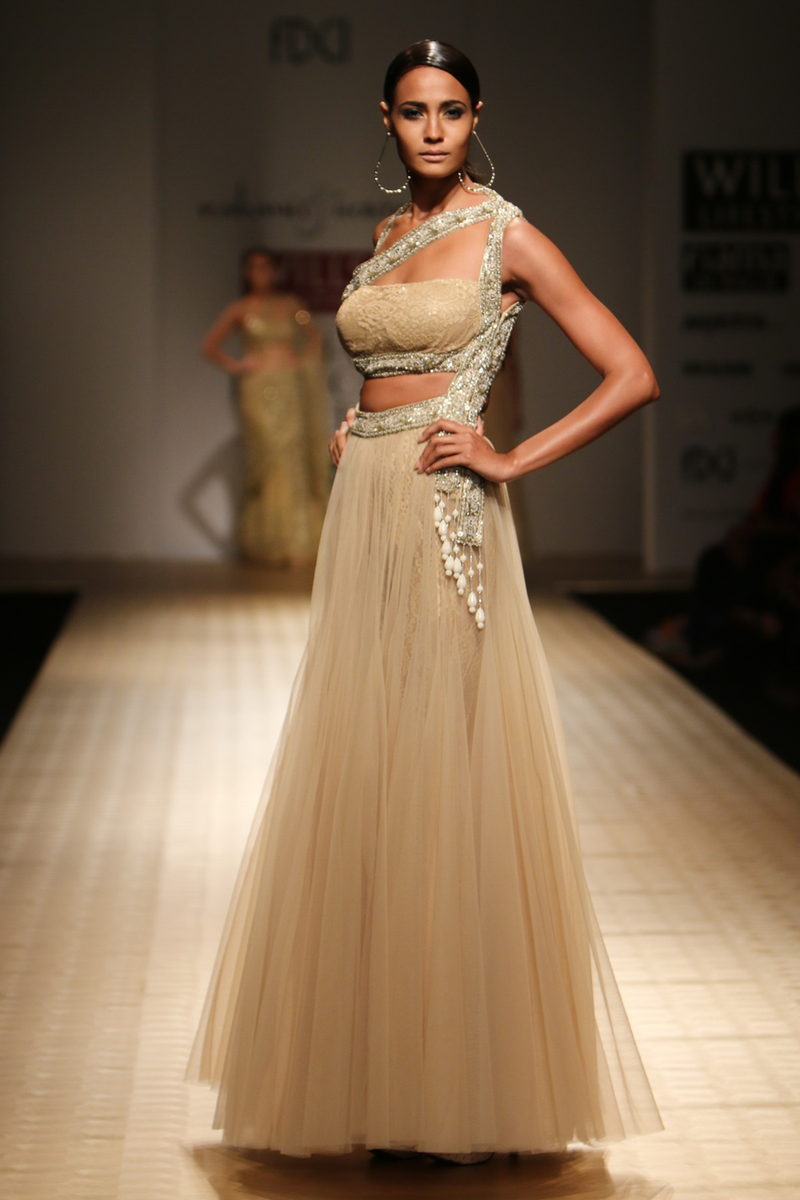 Gold Net Poof Nizam Belts One Shoulder with Roses Lace & Sheeted  Bustier Gown with Roses Lace Churi Trouser