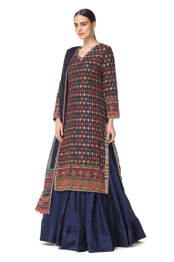 Rabia Long Kurta w/Raw Silk Lehenga Set w/Sequin Mesh Dupatta