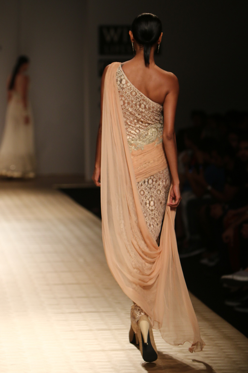 Sun Kissed Peach A-Line Lace with Chiffon Roughing with Drape One Shoulder Gown with Pasiley  Bootas Gown
