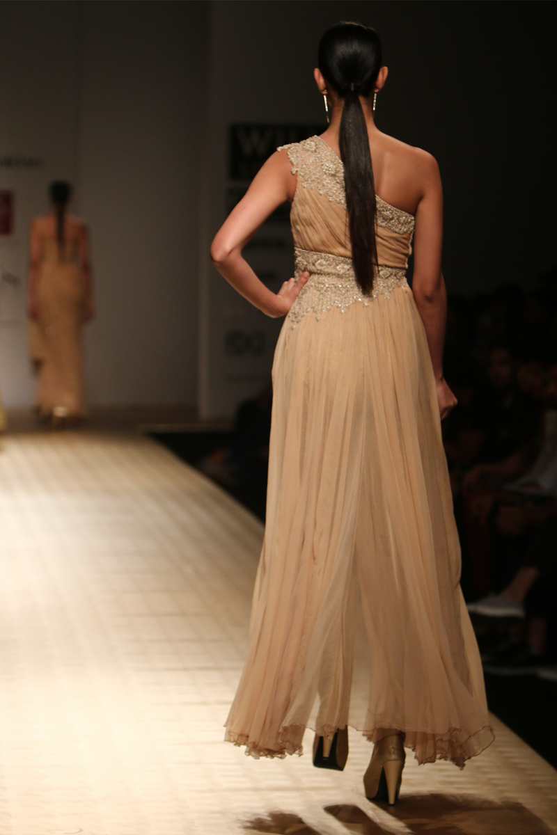 Gold Chiffon Roughed with Side Embroidered Panel One Shoulder Jgj-13 Yoke Gown W/ Gold Roses Lace  Churi Trouser