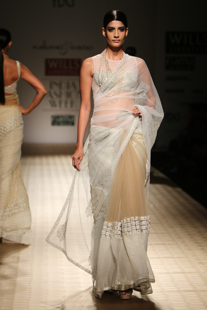 Ivory Net Big Sequin Boota with Gold Net & Ivory Chiffon Pleats with Flower Lace Sari with Brocade Petticoat