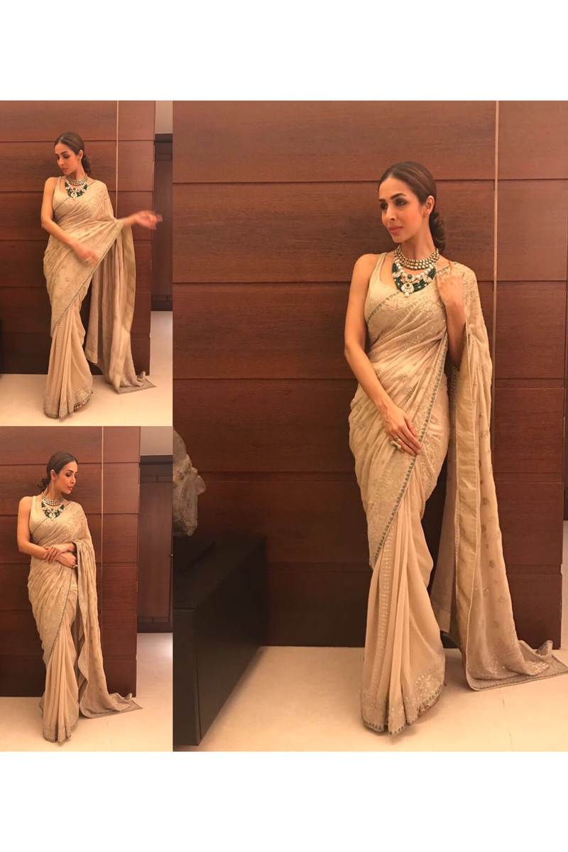 Mallika Arora In Sand Sari Set