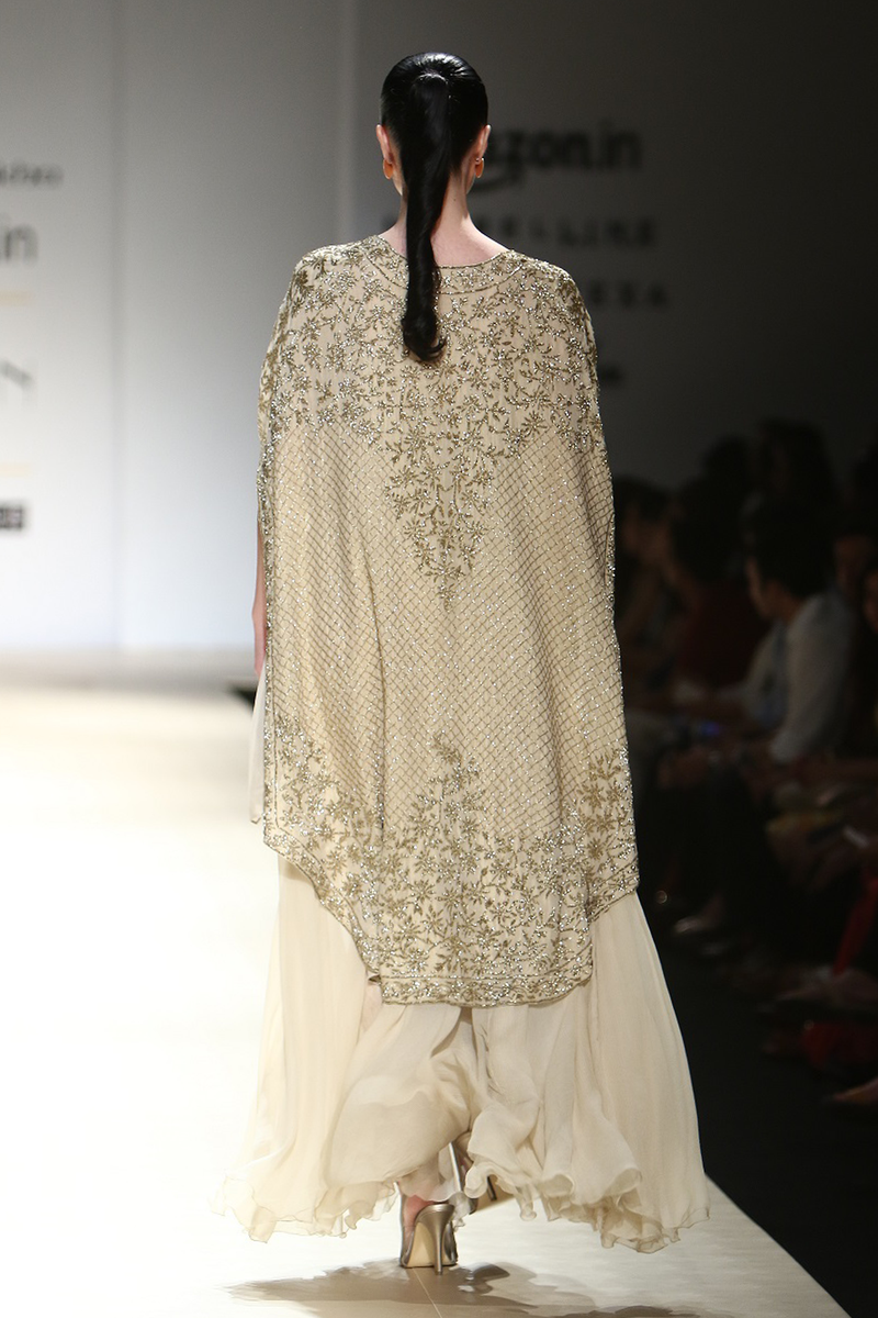 Sand Chiffon Gown W/ Lace & Sequin Trouser W. Foil Fully Embroidered Jacket Bop-31