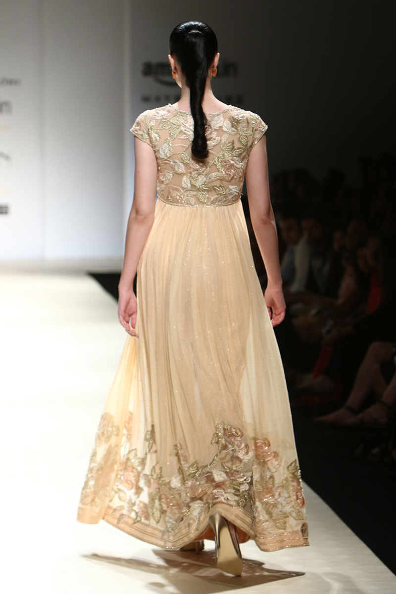 Honey Chiffon Roughed Gown W/Flower Border W/ Waves Trouser