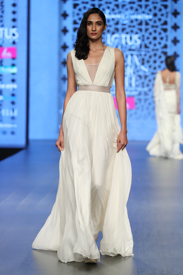 IVORY CHIFFON ROUGHED JUMPSUIT WITH GREEN TASSELS AT BACK