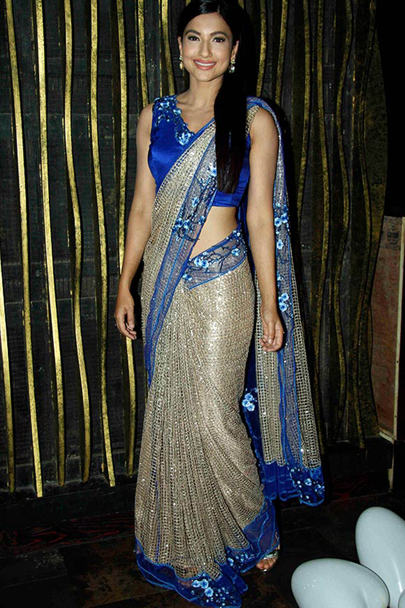 Gauhar Khan In Mesh Sari Set