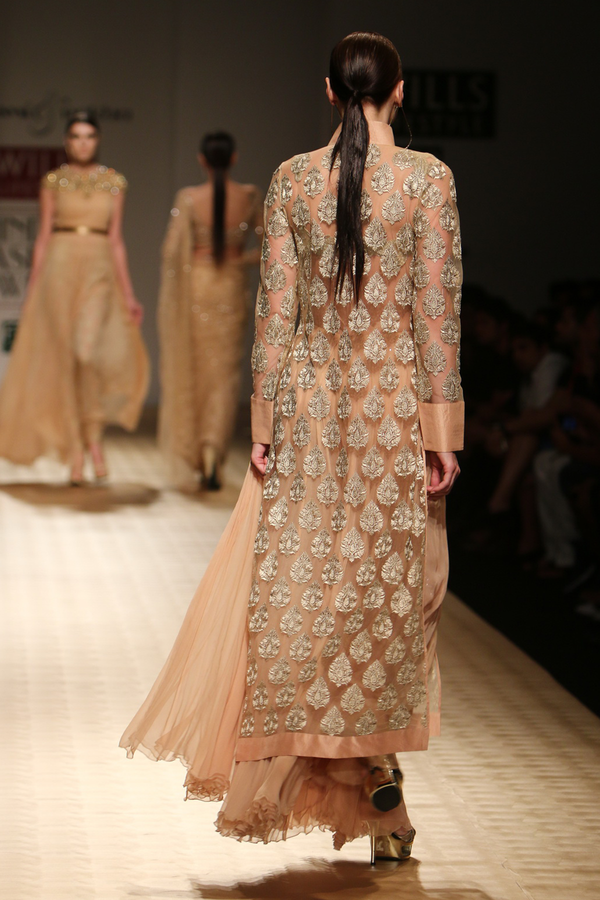 Sun Kissed Peach Booti Long Sherwani with Dupion Border with Chiffon Palazzo with Sheeting with Pasiley Bra