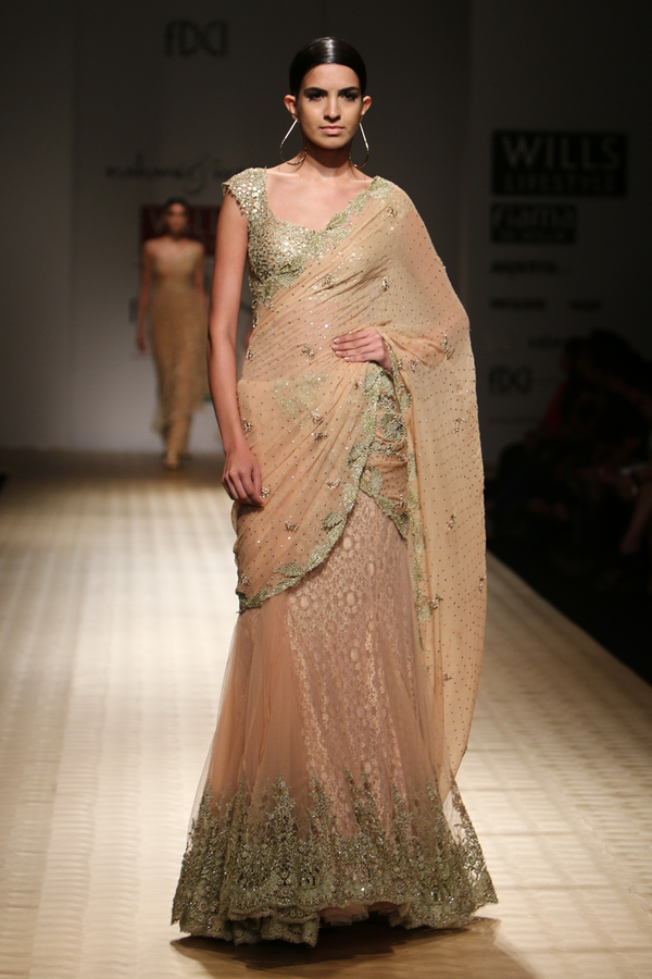Sun Kissed Peach Net 9 Godes Embroidered Lehenga Sari with Chiffon Drape with Mesh Blouse with Lace Crino Petticoat