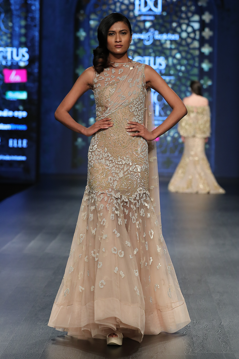 Gold Net A Line Fully Hand Embroidered P Burst Jaal Gown W 3 Chiffon 3 Net Shreads At Back W.