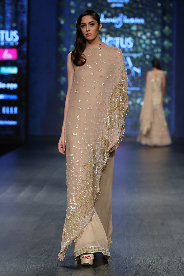 Gold Fully Hand Embroidered Chiffon Cape Gown